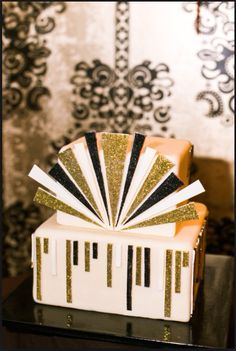 Gold embellished art deco cake