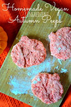 Housevegan.com: Homemade Vegan Autumn Peeps - These 3 ingredient vegan peeps come together so fast, are crazy cute, and will take you back to the days of eating pumpkin peeps on Halloween! So good!