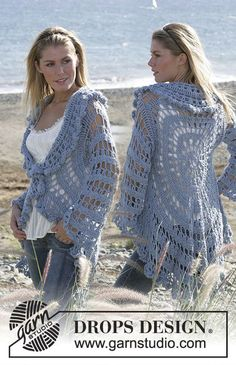 DROPS circle jacket crochet with 2 strands Alpaca. Sizes S-XL Free pattern by DROPS Design.