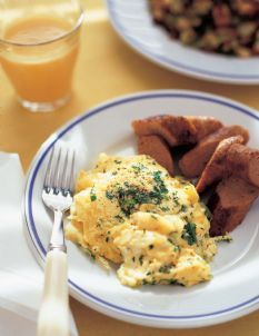 Ina Garten Scrambled eggs with herbs (on the show she added the herbs while whisking eggs before cooking)