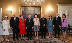 Queen Sonja of Norway, King Harald V of Norway, Queen Margrethe II of Denmark, Finnish President Sauli Niinisto, his wife Jenni Haukio, King Carl XVI Gustaf of Sweden, Queen Silvia of Sweden, the President of Iceland Gudni Johannesson, and his wife Eliza Reidpose at the Finnish Presidential castle during the visit of the Nordic heads of state in Helsinki on June 1 2017. Nordic heads of state are visiting Finland to celebrate the centenary of Finland's independence. The actual date of the…