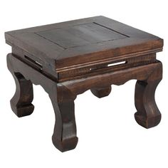 Inspired by Asian antiquities, this handsome wood stool highlights curved legs and a beveled top with its natural dark finish.  Prod...