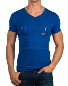 Camiseta Emporio Armani Cuello Pico - Azul Royal