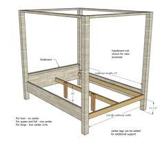 Farmhouse Canopy Bed Frame (All Sizes)