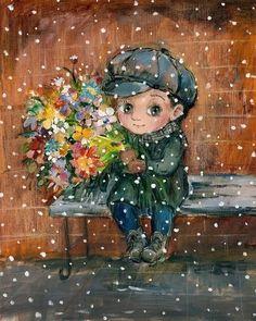 Vyřešte Nino Chakvetadze Art - čekám na svou mámu ! puzzle online s 99 kousky Winter Illustration, Illustration Art, Illustrations, Winter Art, Character Drawing, Fine Art Paper, Painting & Drawing, Art For Kids, Original Artwork