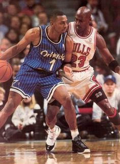 Anfernee Hardaway (Orlando Magic) and Michael Jordan