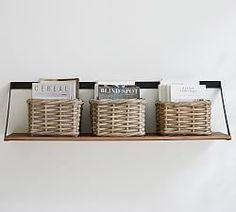 "Duncan Bronze 6-Hook 30"" Shelf | Pottery Barn Wood Shelves, Floating Shelves, Drawer Shelves, Shelving, Wall Shelf With Hooks, Hanging Shelves, Fold Out Table, Recessed Medicine Cabinet, Drying Rack Laundry"