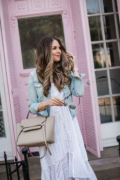 A White Eyelet Dress with Denim Jacket #styleblogger #summer #style #TTD