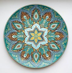 Dot Art Painting, Mandala Painting, Stone Painting, Mandala Dots, Mandala Pattern, Mandala Design, Point Paint, Plate Wall Decor, Pottery Designs