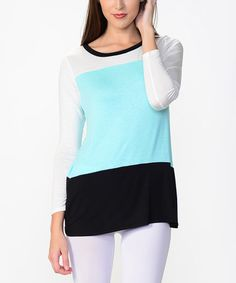 Love this Black & Mint Color Block Tee by Bellino on #zulily! #zulilyfinds