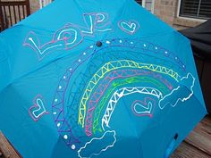 Simply Julie: Umbrella Art with Fabric Paint Umbrella Painting, Umbrella Art, April Showers, Activity Days, Dollar Stores, Craft Stores, Little Girls, Activities, Photo And Video