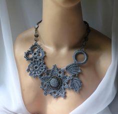 Statement Grey crocheted Lace necklace ★by DAINTYCROCHETBYALY