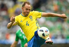 Sweden's defender Andreas Granqvist plays the ball during the Euro 2016 group E football match between Ireland and Sweden at the Stade de France stadium in Saint-Denis on June 13, 2016. / AFP / MARTIN BUREAU