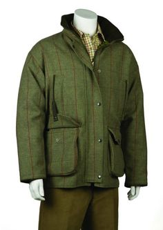 Bonart Gentlemans Waterproof and Breathable Scottish country tweed Classic shooting Jacket Large cartridge pockets with straps 2 chest pockets Inner