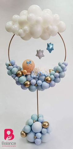 Baby Shower Centerpieces – Standout With Creative Baby Shower Decorations Baby Shower Cakes, Idee Baby Shower, Baby Shower Balloons, Baby Shower Parties, Baby Shower Themes, Baby Boy Shower, Baby Shower Gifts, Baby Boy Balloons, Cloud Baby Shower Theme