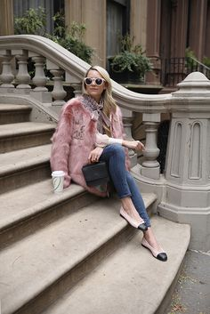 Blair Eadie wearing pink faux fur with a tweed top and jeans // Click through for more Fall style and outfits on Atlantic-Pacific Girly Outfits, Fashion Outfits, Womens Fashion, Clueless Fashion, Petite Fashion, Curvy Fashion, Fur Coat Outfit, Pink Faux Fur Coat, Atlantic Pacific
