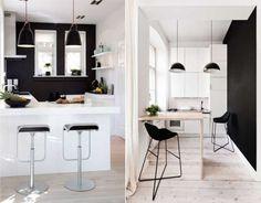 Черные стены в маленькой кухне