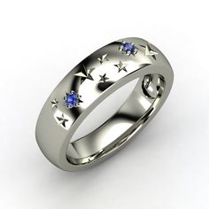 Sterling Silver Ring with Sapphire - Written in the Stars Ring | Gemvara (engraved - For My Squishy)