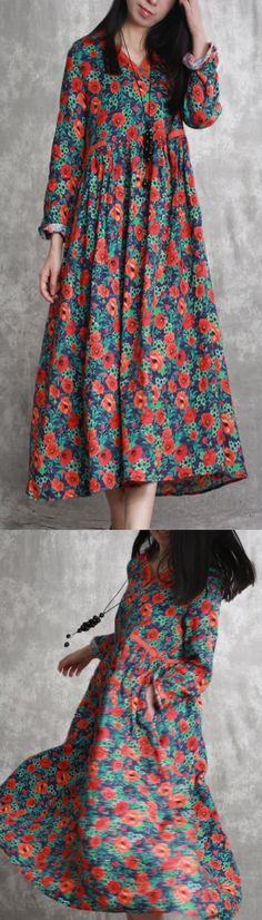 624840927b8 green orange floral linen caftans wrinkled linen maxi dress big hem caftans  New Long Dress