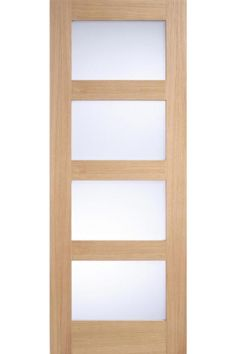 Internal Door Oak Contemporary shaker 4 Light with Frosted Glass Untreated LPD