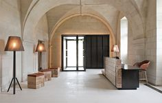 Built in 1101 AD, the Abbaye de Fontevraud Hotel, located in the Loire valley, has recently been redesigned to provide luxury accommodation for guests.