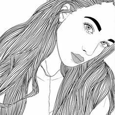 Imagen de outline, girl, and art