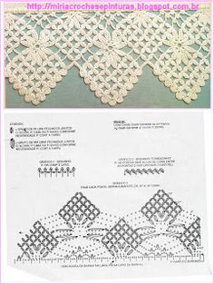 Check out the diagrams and learn to make more than 150 points, (crochet edgings) with images. There are several crochet borders that can be applied in various crochet projects. Crochet Boarders, Crochet Lace Edging, Crochet Diy, Crochet Diagram, Crochet Chart, Thread Crochet, Filet Crochet, Irish Crochet, Crochet Doilies