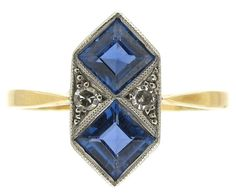 Art Deco Sapphire & Diamond Double Diamond Shaped Ring   An original and very stylish Art Deco ring which was made circa 1920. It has an 18ct gold shank with a platinum top. The sapphires are Montana variety and very well matched.