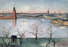 Einar Jolin (1890 – 1976) Stockholm from the heights of Söder, /Stockholm från Söders höjder 1938, 1938. Oil on canvas. 65 x 92.5 cm Liljevalchs konsthall, Stockholm Sweden.