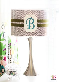 Wrapping Paper-Covered Monogram Lampshade