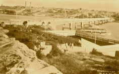 The old Drummoyne swimming pool, next to the original Bridge. Old Pictures, Old Photos, Five Dock, Historical Pictures, Paris Skyline, Sydney, Swimming Pools, Bridge, The Past