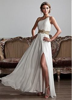 Junoesque Chiffon & Stretch Satin One Shoulder Neckline A-Line Prom Dresses