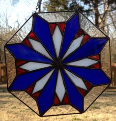 a27f126c5932 Contemporary Stained Glass Panel Suncatcher - Geometric Patriotic (PLG029)