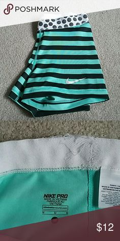 Nike spandex Nike spandex. Aqua with black stripes. Worn once. A little fraying at the Top and shown in second picture. Offers and bundles welcome. Nike Intimates & Sleepwear