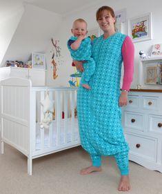 Schlafsack mit Füßen Teal Stars für Erwachsene