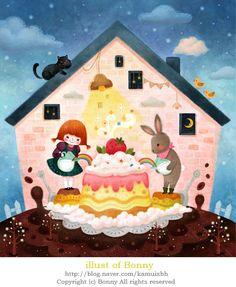 세상에서 가장 맛있는 케익 만들기 #illust #illustration #character #artwok #picture #painting #digitalart #painter #fairytale #girl #rabbit #cake
