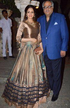 Sridevi and Boney Kapoor at Anil Kapoor's birthday bash. #Bollywood #Fashion #Style #Beauty #Hot