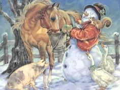 snowman and horse Christmas Horses, Christmas Past, Christmas Snowman, Christmas Themes, Christmas Holidays, Xmas, Vintage Christmas Cards, Horse Art, Drawing Sketches