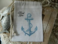 Vintage Style Anchor Thank You Nautical Muslin Favor Gift Bags Set Of 10 - $8.00