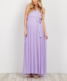 dc5608264213 PinkBlush Maternity Lavender Chiffon Pleated Maternity Gown | zulily  Beautiful Maternity Dresses, Maternity Gowns,