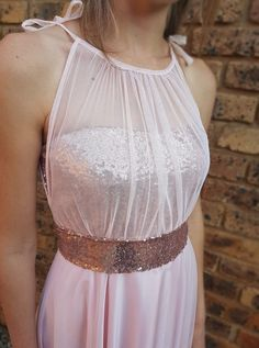 Gelique Annabell Dress with a rose gold sequins bodice overlay. The Gelique sequins sash adds that extra sparkle. Add this belt as an extra to any dress. Evening Dresses, Formal Dresses, Gold Sequins, Every Woman, Sash, Overlay, Custom Made, Bodice, Sparkle