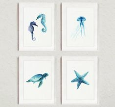 Set of 4 Nautical art prints. Oceanic life wall decor gift idea. Teal home decor watercolor paintings. Turquoise sealife giclee illustrations.
