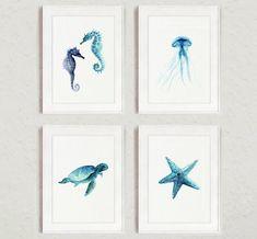 Set of 4, Starfish, Seaturtle, Seahorse, Jellyfish, Nautical art prints, Oceanic life wall decor, Teal giclee illustrations, Blue gift ideas