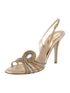 Rene Caovilla Embellished Slingback Sandals - Shoes - REC21356 | The RealReal