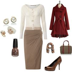 Love the little cardigan, wine-colored coat and open-toed pumps.