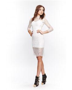 FOR LOVE AND LEMONS - ROSETTE DRESS IN WHITE