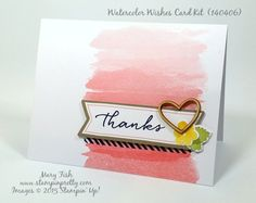 Stampin' Up! Watercolor Wishes Card Kit Now Available! - http://stampinpretty.com/2015/07/stampin-up-watercolor-wishes-card-kit-now-available.html Love this sample created by Rachel of Stampin' Up! using the Watercolor Wishes Card Kit. Mary Fish, Stampin' Pretty Blog. #stampinup, #stampingup