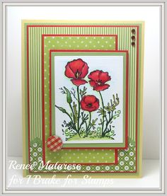 Renlymat's World: I Brake For Stamps: Flowers and Strawberry Sheet or single Poppies. Handmade Mother's Day card.  There's a 10% off coupon code on blog that doesn't expire!