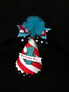 Thing 2 birthday party hat in large black by LittlePinkTractor, $13.50