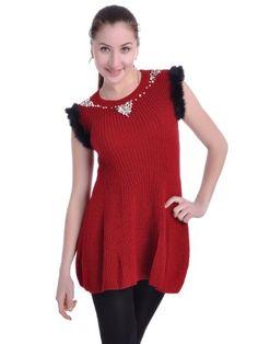 Anna-Kaci S/M Fit Red Short Sleeve Faux Fur Trim « Impulse Clothes